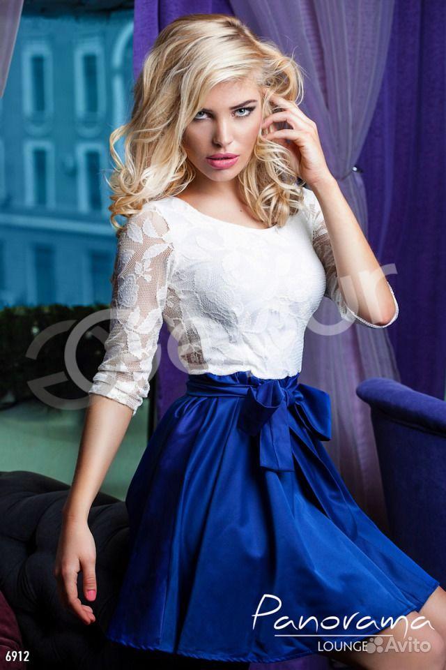 платье сине белое доставка