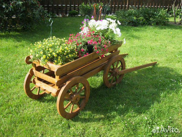 Деревянная телега для сада своими руками