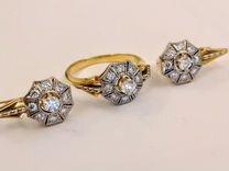 Золотой комплект серьги и кольцо с бриллиантами