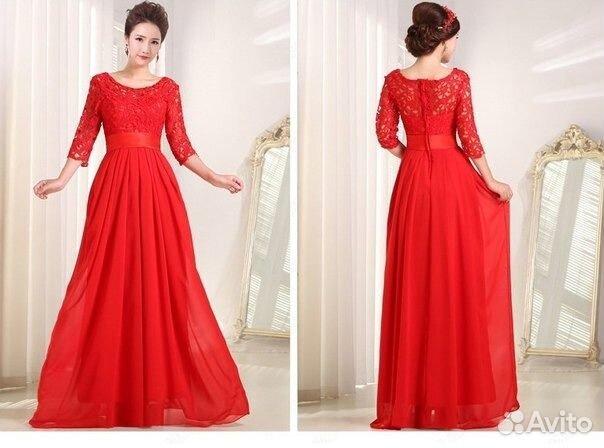 Красное платье длинное с кружевом