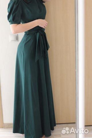 зелёное платье в пол фото