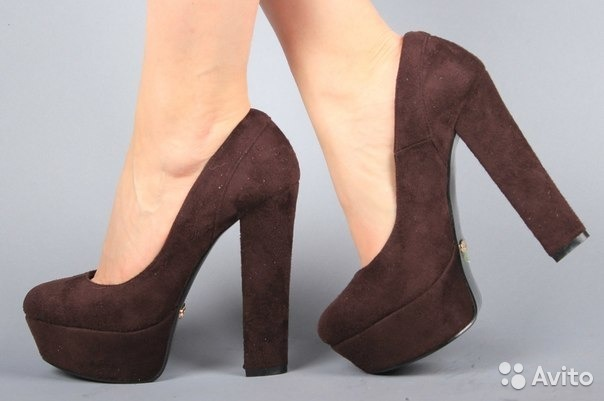 71ed6dc89 Туфли коричневые на устойчивом каблуке 15 см купить в Москве на ...