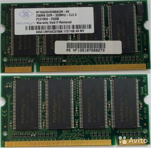 Продам SO-dimm 256 MB DDR 333 MHz PC2700S 200-Pin— фотография №1