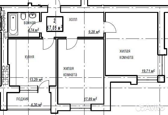 2-к квартира, 67 м², 1/10 эт. 84012677000 купить 6