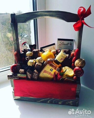 Деревянные ящики, мужские букеты, подарок на любой