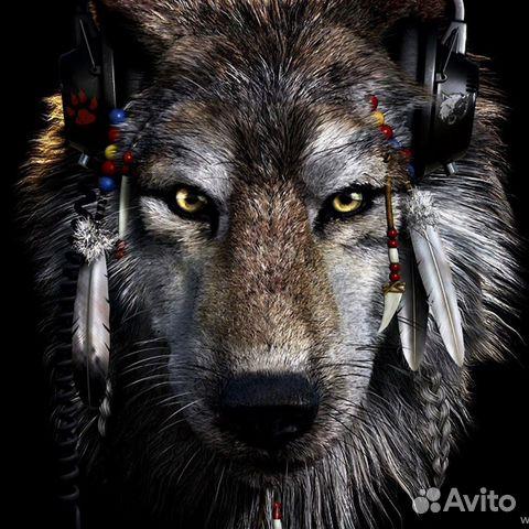 3D картина Волк в наушниках 89876961755 купить 2