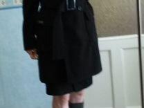 Пальто черное с поясом