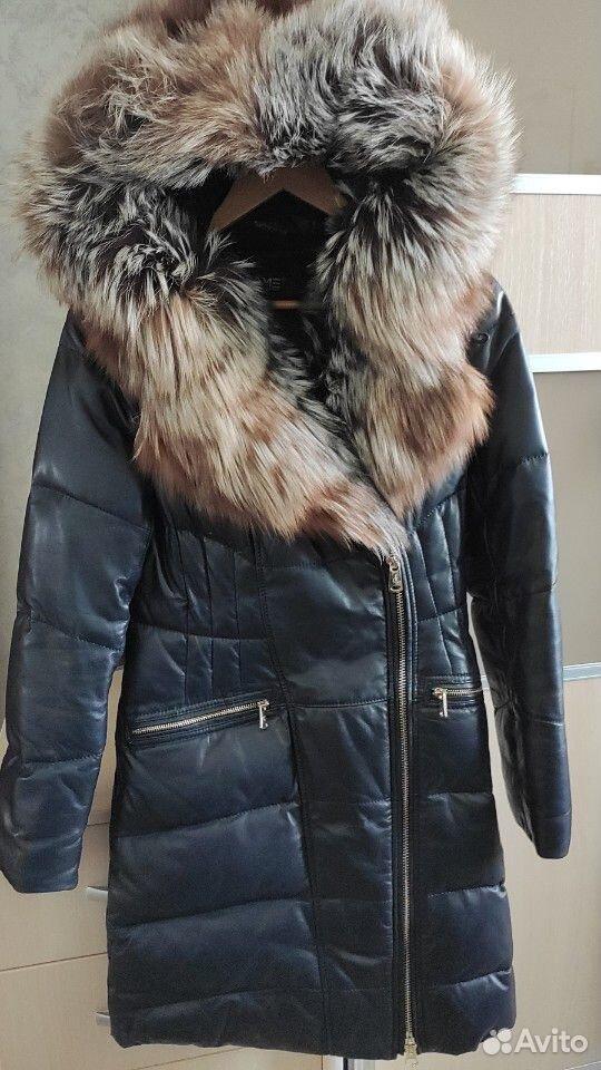 Зимний кожаный Пуховик с лисой длинный  89139687644 купить 1