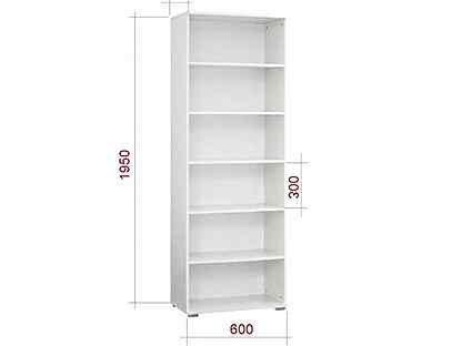 Стеллаж книжный белый 1950х600х200 лдсп
