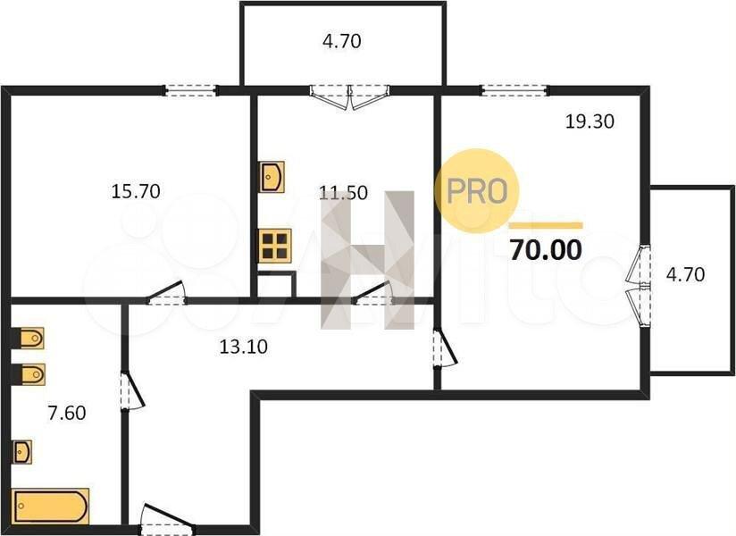 2-к квартира, 70 м², 4/7 эт.  89114911361 купить 4